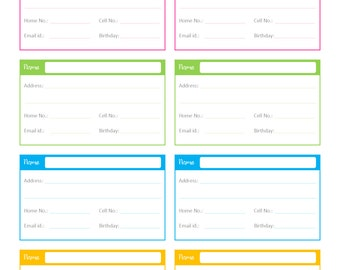 Contacts List PDF Planner, Contact List, Checklist, List, To Do Diary,  Business Contact List Template