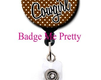 Retractable ID Badge Reel- Cowgirl Pink and Brown with Red Heart- Id Reel- Badge Holder