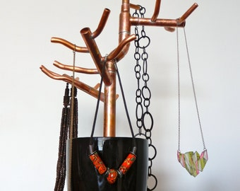 Jewelry tree stand etsy for Copper pipe jewelry stand