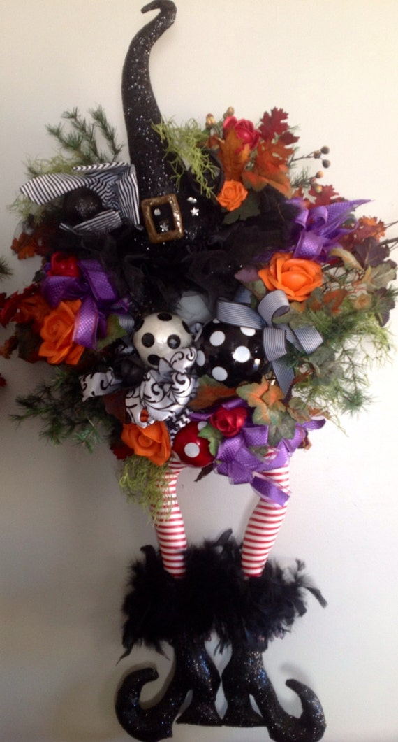 Halloween Witch Wreath Fall Wreath By Uniquethingamajigs