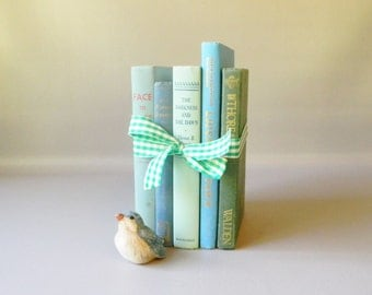 Vintage Set of Blue & Green Books / Instant collection