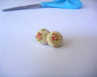 Vintage Rose Print Fabric Button Post Earring.