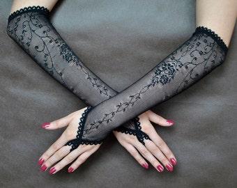 Elegant GOTHIC VAMPIRE Victorian Burlesque Glamour GLOVES black lace