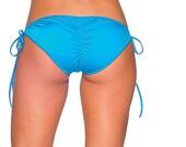 Turquoise Blue Sexy Tie Side Scrunch Butt Bikini Bottom Seperates Brazilian Cheeky Bottom Puckered Back Swimsuit Swimwear Beachwear