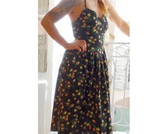 1990's floral backless with cardigan set TEHEN DRESS // set of  dress and cardigan // size eu 36 - uk 8 - us 4
