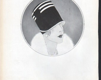 THREE FOR FOUR Art Deco era fashion print from Vogue magazine, front & back - fash 118