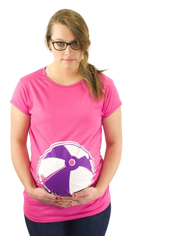 Maternity Clothes Funny Beach Ball Maternity T-Shirt Clothes