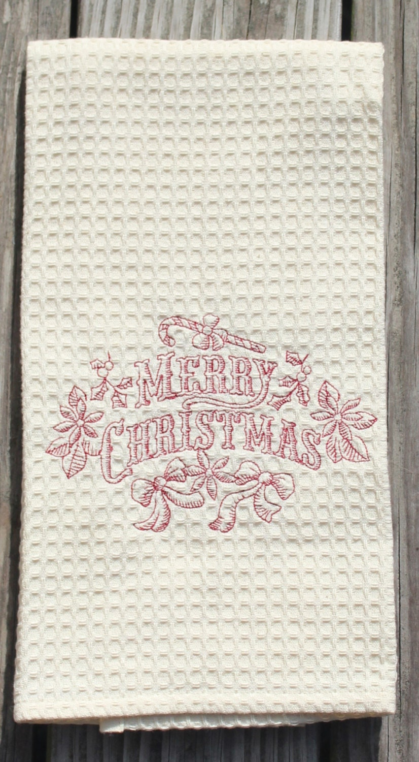 Christmas Kitchen Towel Embroidered Merry Christmas Tea