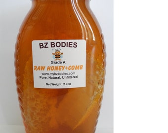 Orange Blossoms Finest Raw Honey with Honeycomb Strips-Pure, Natural, Unfiltered, Grade A, 2 lbs