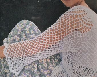 Womens vintage crochet pattern tunic top cover up pdf INSTANT download pattern only pdf 32-38 inches