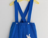 12 months, Vintage Blue Bunny Suspender Shorts, Baby Romper, Royal Blue Knit with Appliquéd white Bunny, for Baby or Toddler Boy