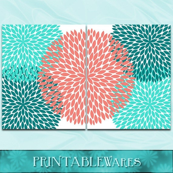 Items similar to coral turquoise wall art teal for Turquoise wall decor