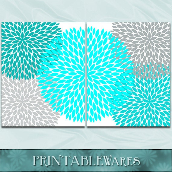Turquoise Teal Wall Decor : Turquoise and gray wall art teal aqua chrysanthemum set