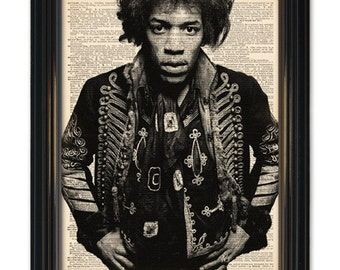 Jimi Hendrix Dictionary Art Print. Rock Legend Guitarist Dictionary page print 8x10 in size. Buy any 3 prints get 1 FREE!