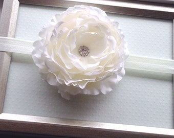 White Flower Headband, Baptism Headband, Newborn Photo Prop, Christening Headband, Big Flower Headband, Baby Headband White, Ranunculus