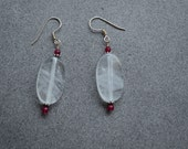 Clear Quartz Sterling Silver and 3mm Faceted Ruby Earrings with Sterling Silver Daisy Accent Beads on Sterling Silver Ear Wires