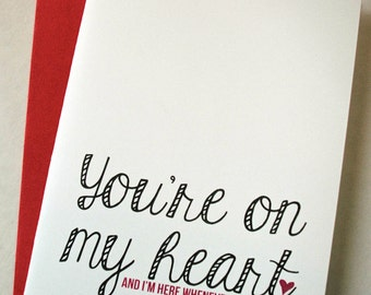 Thinking of You Card - Sympathy Card - You're On My Heart