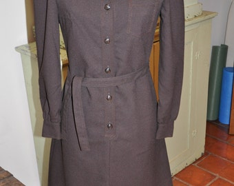 Vintage 1970's Espresso Brown Polyester Button front shirt Dress with matching brown polyester belt