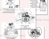 Digital Valentine Card Messages- Set of Five Vintage Valentines, Instant Download Printable VCM-1&2