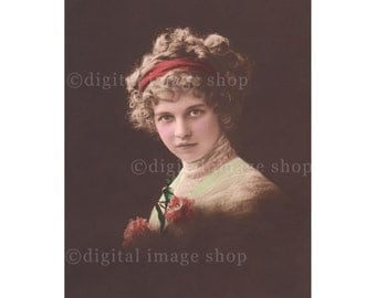 Early 1900s Gypsy Woman Digital Image Pretty Young Lady Hairband Curly Hair Vintage Postcard - Instant Download PC03