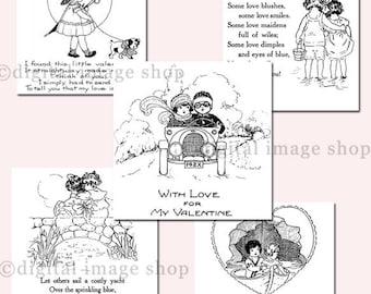 Digital Valentine Card Messages- Set of Five Vintage Valentines, Printable DIY Valentine Digital Graphics Clipart Instant Download VCM-1&2