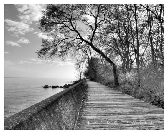 Items similar to Black and White Boardwalk Giclee ...