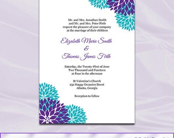 Purple Teal Wedding Invitation Template, Diy Garden Floral Shower Party  Invites, Printable Cards Editable