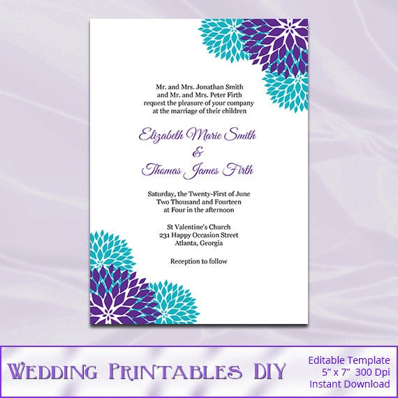 Purple Teal Wedding Invitation Template Diy Garden Floral