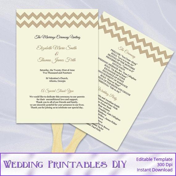 Rustic Wedding Program Fans Template, Diy Printable Retro Beige ...