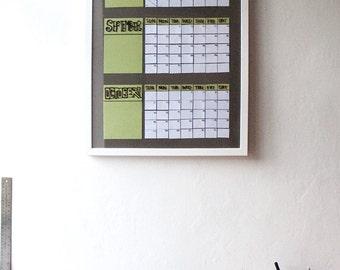 3 month dry erase wall calendar handmade paper poster