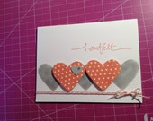 Beautifully Simple Contemporary Heartfelt A2 Thanks (Thank you) in Calypso Coral and Smoky Slate (Stampin' Up), with Baker's Twine and Bling