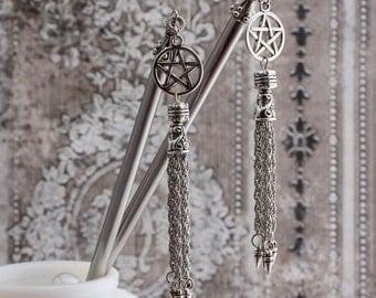 Tribal Magick - Antique Silver Pentagram Hairsticks - Free US Shipping