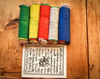 A Bundle of Five Tibetan Prayer Flags / Lungta Flag/WindHorse Flag