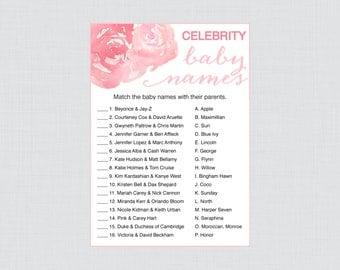 Celebrity Baby Shower Game, Printable Celebrity Baby Name Match in Pink Watercolor Flowers Peonies - Printable Instant Download - Peony