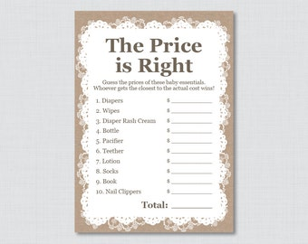 Burlap and Lace Baby Shower Price is Right Game - Printable Instant Download - Rustic Price is Right Baby Shower Game - Burlap Lace 0063