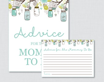 Advice for Mommy to Be Cards and Sign Mason Jar Baby Shower Printable - Advice for Mom To Be, Advice for New Parents - Mason Jar