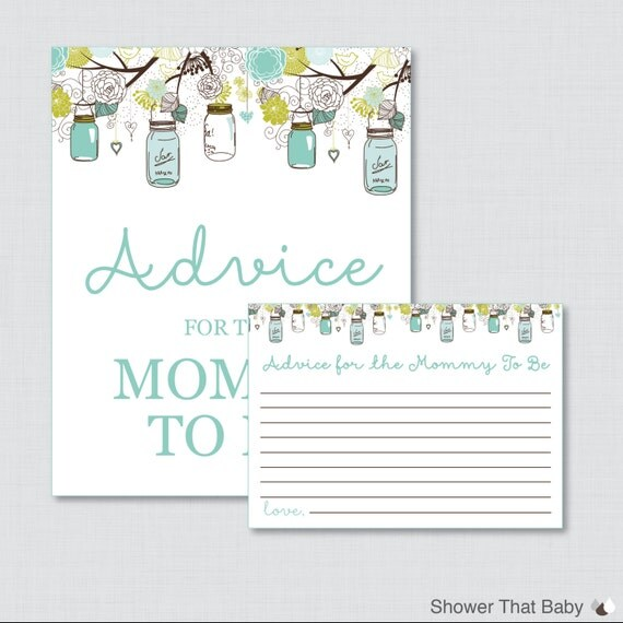 Baby Shower Tips For New Moms: Advice For Mommy To Be Cards And Sign Mason Jar Baby Shower