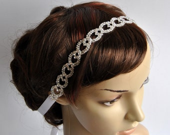 Crystal Luxury  Rhinestone Tie on Headband headpiece, Prom Headband, Wedding Headband, ribbon headband, Bridal rhinestone head piece