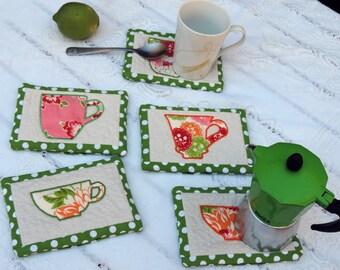 The hoop embroidery design mug rug embroidery design quilted mug rug