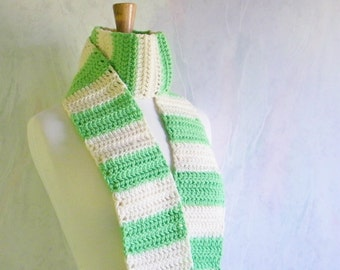 Womens Rugby Scarf, Apple Green and Cream Scarves, Winter Accessory, Crochet Scarf,  Neckwarmer