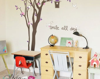 Custom Name Nursery Wall Decal, Blossom Tree Wall Decal, Self Adhesive Wall Sticker, Birds and Tree Vinyl Wall Decal NT031