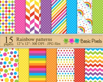 Rainbow digital papers - Patterns - Backgrounds - Personal and commercial use