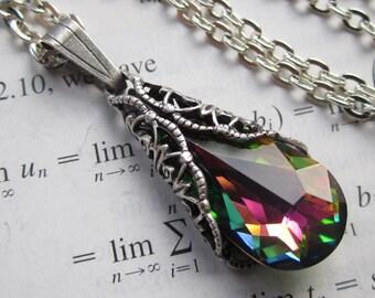 Narnia - Swarovski Necklace - Filigree Necklace - Fantasy Jewelry- Bridal Necklace - Art nouveau jewelry - Teardrop necklace - Prom necklace