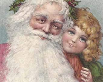 Antique Christmas Postcard of Santa Claus and a Little Girl INSTANT Download