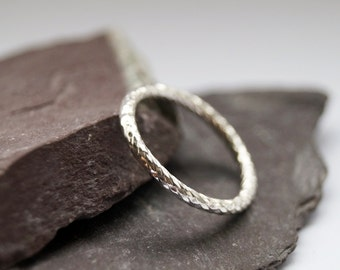 Weaved Band Sterling Silver Ring ~ stacking ring