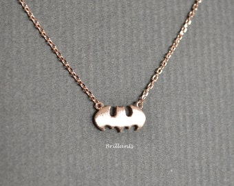 Rose gold batman necklace, Everyday necklace
