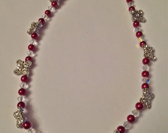 Wedding Jewelry, Art Deco, Brides Necklace, Swarovski Clear Crystals and Components, Wine Red 6mm Pearls