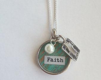 Faith - Bezel Necklace with Charms