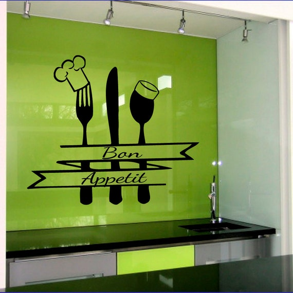Bon Appetit Kitchen Wall Decal Vinyl Sticker Wall By CozyDecal