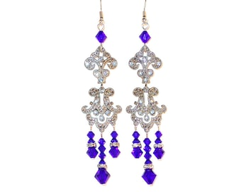 "SWAROVSKI Crystal Chandelier Earrings Very Long 3.75"" Royal COBALT BLUE Prom"